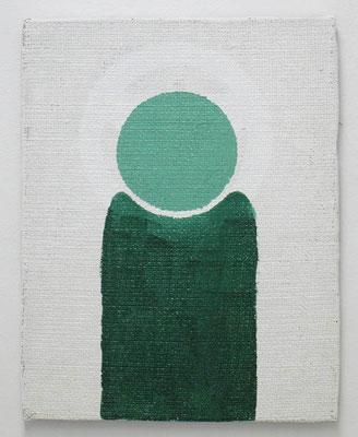 緑の人(種蒔く人) 2017 41.5 ×  32.5 cm 合成樹脂塗料、ジュート麻、木製パネル