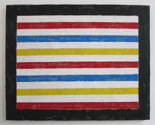 東の人びと 2 2017 53.5 ×  65.5 cm 合成樹脂塗料、ジュート麻、木製パネル
