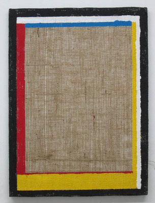東の人びと 2017 60.0 ×  42.5 cm 合成樹脂塗料、ジュート麻、木製パネル