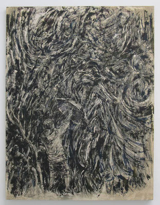 嵐の中へ:Bowl of flame calls on owl 2014 アルキド樹脂、木炭、顔料、キャンバス:alkyd resin, charcoal, pigment, on canvas 80.3 × 60.6 cm ¥ 135,000.-