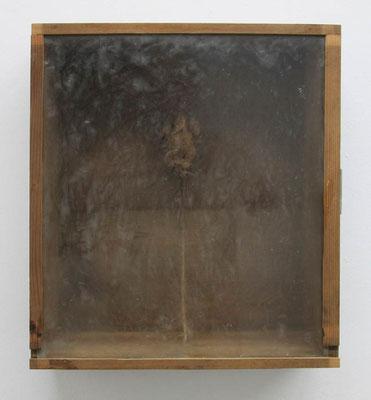 MELANCOLIA  2018  木の引き出し・紙・ガラス・蜜蝋:wooden drawer・paper・glass・wax  h. 37.5 × w. 40.5 × d. 14.0 cm