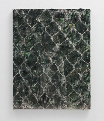 フェンス・緑の庭  2018  水性アルキド樹脂、油絵具、木炭、顔料、キャンバス:alkyd resin, oil, charcoal, pigment on canvas  53.0 × 40.9 cm