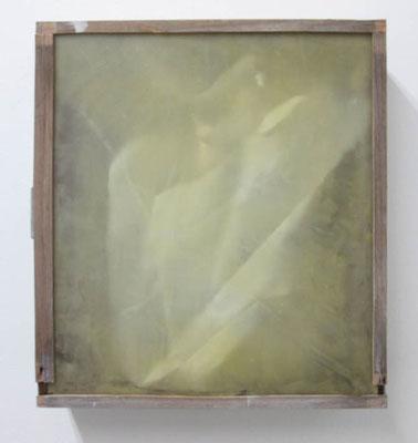 MELANCOLIA  2018  木の引き出し・紙・ガラス・蜜蝋:wooden drawer・paper・glass・wax  h. 36.5 × w. 40.5 × d. 11.0 cm