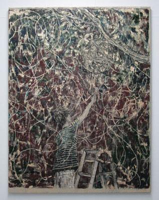 光を捕える 2017 130.3 × 97.0 cm 水性アルキド樹脂、油絵具、木炭、顔料、キャンバス:alkyd resin, oil, charcoal, pigment on canvas