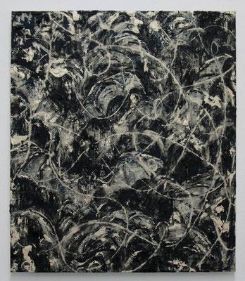 プルシャンブルーに踊る 2017 53.0 × 45.6 cm 水性アルキド樹脂、油絵具、木炭、顔料、キャンバス:alkyd resin, oil, charcoal, pigment on canvas