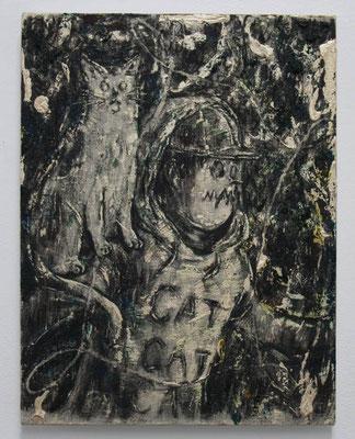 怪物と猫 2017 41.4 × 32.0 cm 水性アルキド樹脂、油絵具、木炭、顔料、キャンバス:alkyd resin, oil, charcoal, pigment on canvas
