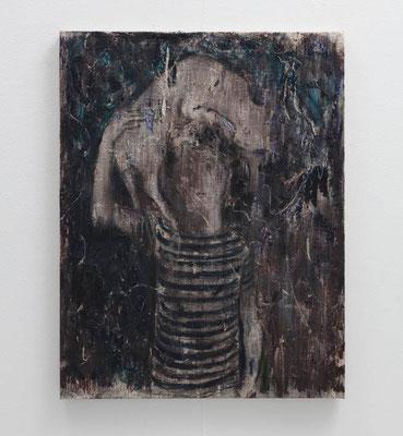 怪物と猫  2018  水性アルキド樹脂、油絵具、木炭、顔料、キャンバス:alkyd resin, oil, charcoal, pigment on canvas  53.0 × 40.9 cm