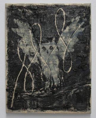 ふくろうになった日  2017 31.9 × 24.7 cm 水性アルキド樹脂、油絵具、木炭、顔料、キャンバス:alkyd resin, oil, charcoal, pigment on canvas