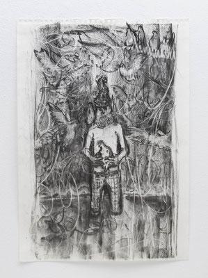 無題:Untitled  2018  木炭、紙:charcoal, paper  59.5 × 42.0 cm