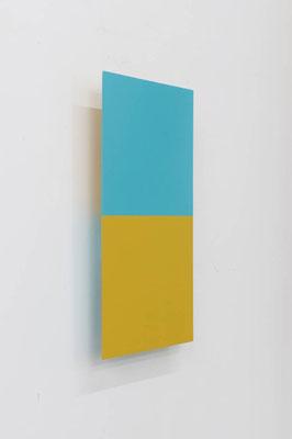 つーとんとん ( あさぎ/おうど ):Two Tone Tone ( Pale blue-green / Ocher ) 2017  アクリル、寒冷紗、 MDFボード:acrylic on MDF board covered with cotton fiber  h.45.0 × w.22.5 × d.5.0 cm