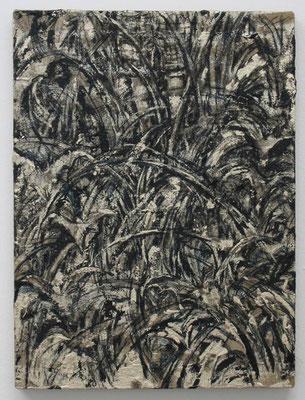 草むらに眠る:Sleeping in the grass 2016 アルキド樹脂、木炭、顔料、キャンバス:alkyd resin, charcoal, pigment, on canvas 45.5 × 33.5 cm ¥ 66,960.-