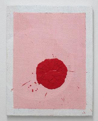 赤い滴 2017 41.5 ×  32.5 cm 合成樹脂塗料、ジュート麻、木製パネル