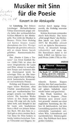 Hier die Rezension in der örtlichen Presse zum Konzert mit Laute und Spinett mit Tobias Gravenhorst in der Abtskapelle, St. Michaelis  am 26.12.2008