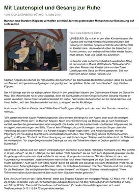 Artikel aus dem Hamburger Abendblatt zu unserem 5-jährigen Jubiläum der StilleAbende