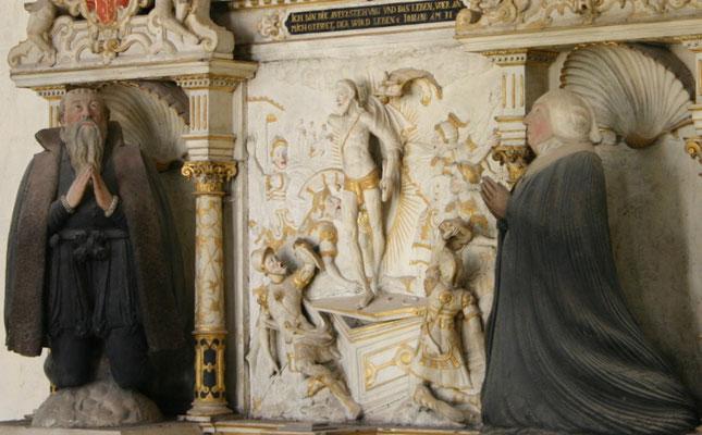 Israel von der Milla: Epitaph des Obervierherrn Jacob Naffzer (†1586) und seiner Frau Anna Naffzer, geb. Kranichfeld (†1603), um 1590, H 7,95 m, B 3,28 m, Sandstein, Erfurt, Predigerkirche. Foto: Sven Pabstmann