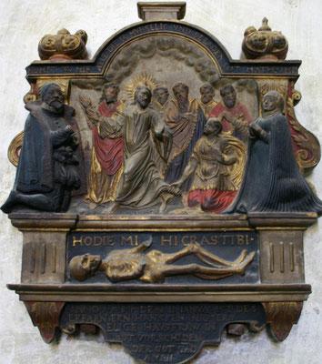 Israel von der Milla (Zuschreibung): Epitaph der Anna Maria Naffzer (†1585), um 1590, H 0,78 m, B 0,65 m, Sandstein, Erfurt, Predigerkirche. Foto: Sven Pabstmann