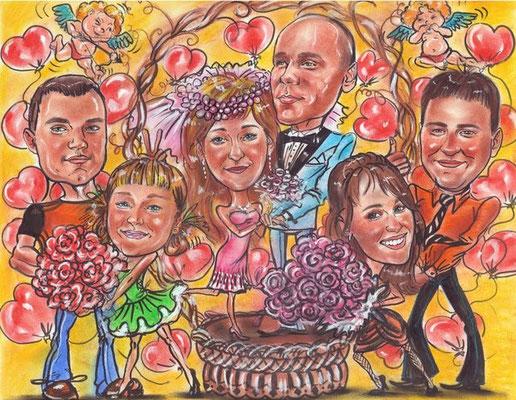 групповой шарж Юбилей семейной жизни