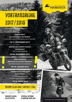 Das Programm der Winter-Vortragsreihe bei Touratech in Niedereschach