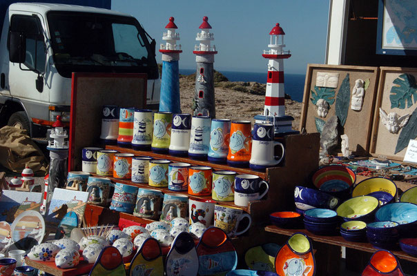 Portugal, Algarve, Sagres (südwestlichster Punkt des europäischen Festlands), Souvenir-Stand beim Leuchtturm