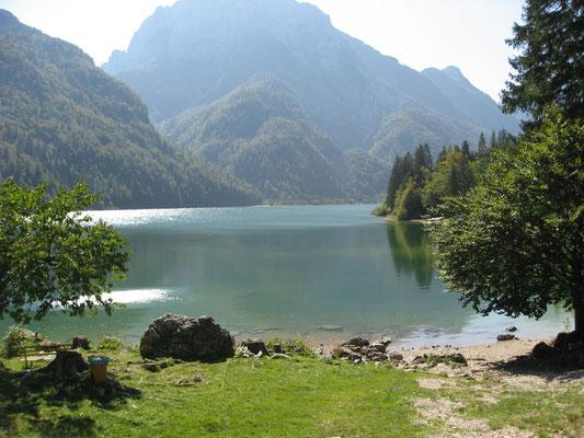 Blick vom Mittagstisch auf den Lago del Predil