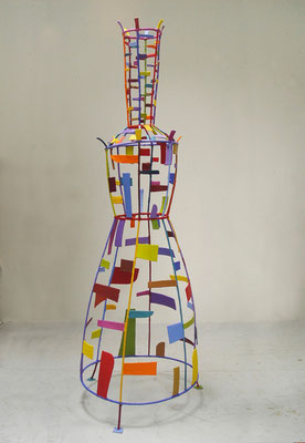 "Woman II  2013, Acrylic on plaster and welded steel,  72 x 24 x 24.5"" (sold)"