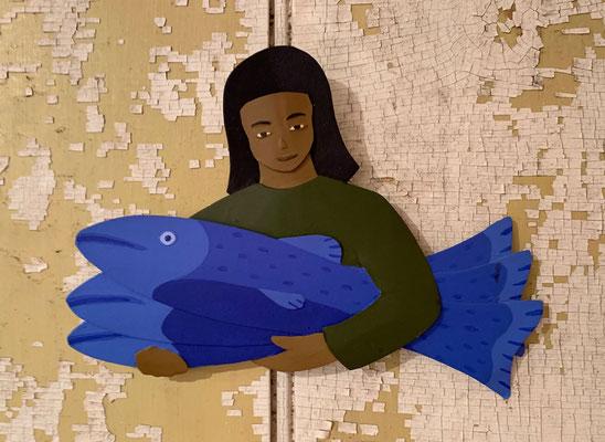 Fish Girl circa 1990, Acrylic on steel