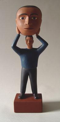 """Head/Man, 2000, Acrylic on resin, 19x6x5"""""""