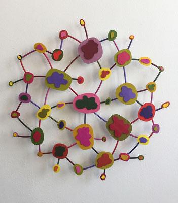 "Flower Power 2014,  Acrylic on paper and welded steel, diameter 19"""