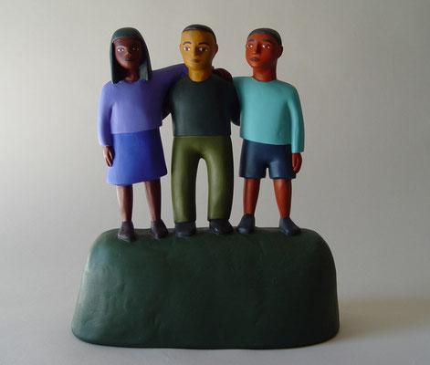 "Three Kids, 1998, Acrylic on plaster, 10x9x4"""