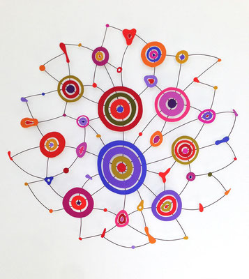 "Red Fever 2014, Acrylic on paper and wire, diameter 24"" (sold)"