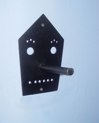 House peg, Atomic Iron Works, ca. 1990. One of twenty designs in the Atomic Iron Works line of hat and coat racks.