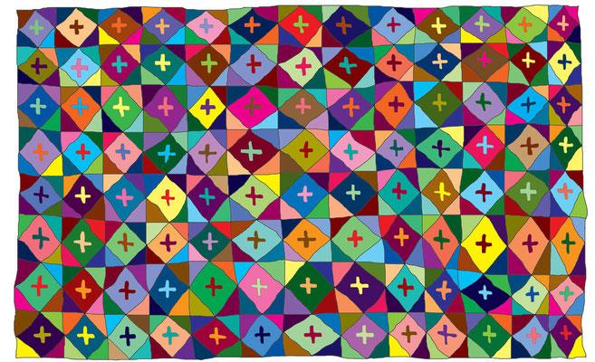 "Diamond Cross Quilt 2005 Image size 7.5 x 9.5""  Frame size 12 x 14"""