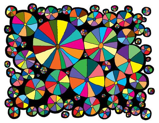 "Pin Wheels 2015 Giclee print  Image size 10.5 x 13.5"""