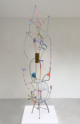 Radio Shak 2017,   Acrylic on welded steel and epoxy  99x27x24""