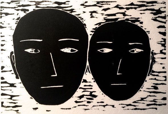 Ear to Ear, 2005, Linoleum cut print