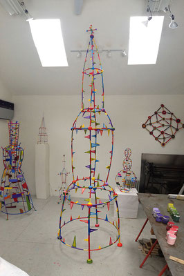 Steeple  2013, Acrylic on plaster, styrofoam and welded steel,   134 x 37 x 38""