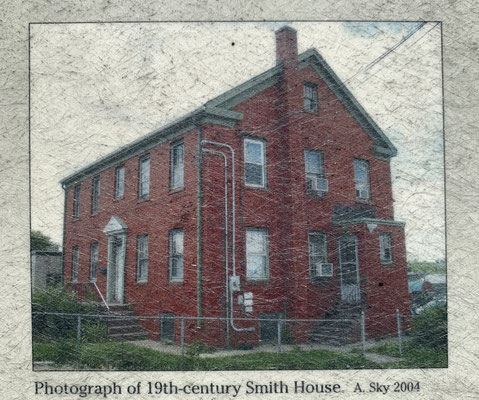 The form of the sculpture was inspired by the historic Smith house formerly located at the station site.
