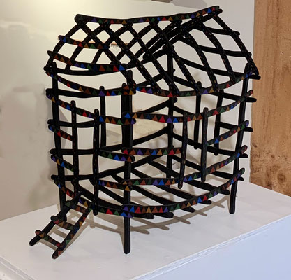 Dark House, 1985, Acrylic on wood. One of a series of over 50 wood sculptures made from 1980 - 1985.