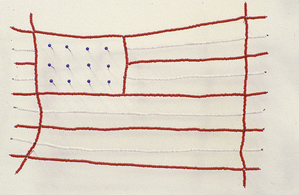 Beaded Flag, c. 1984, Beads on wire and  straight pins. One of an ongoing series of flag sculptures.