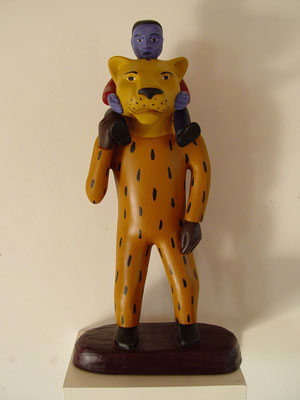 """Tiger/Man/Boy, 1997, Acrylic on resin, 14x6x5"""".  Part of a series of about 50 figurative sculptures made between 1996 and 2005"""