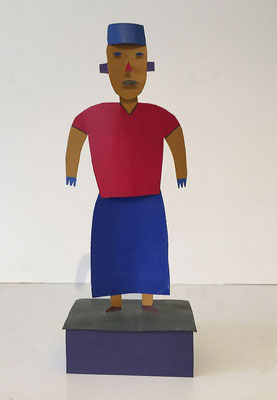 """Big Nurse, 1988 Acrylic on tinplate. 15 x 6 x 3.5"""". From a series of about 30 figurative sculptures made from sheet metal."""