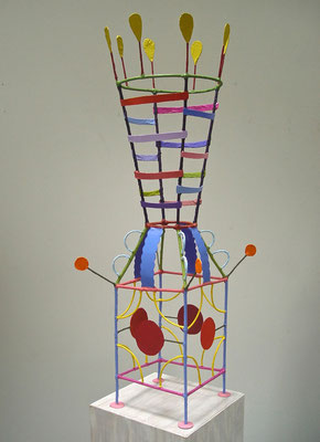 Queenie 2013, Acrylic on paper and welded steel, 35 x 9 x 9""