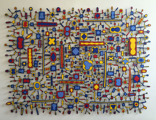 East Orange Boogie Woogie 2015, Acrylic on steel 47 x 64""
