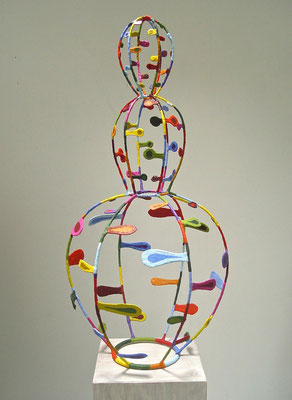 Woman III   2013, Acrylic on plaster and welded steel,  36 x 14 x 14""
