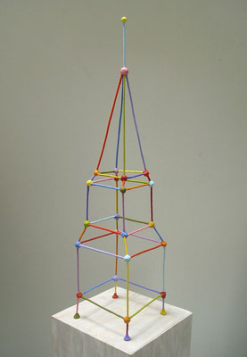 Transmitter  2013, Acrylic on epoxy and welded steel   31 x 7 x 7""
