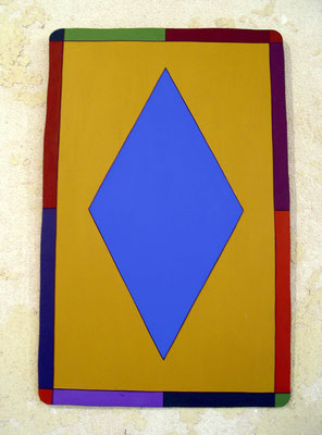 """Card, 1985,  Acrylic on steel 25 x 16"""" One of a series of 10 paintings on sheet metal made in the mid 1980's."""
