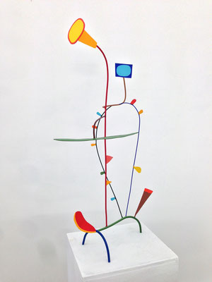 "Don Quixote 2014,  Acrylic on welded steel, 40 x 26 x 14"" (sold)"