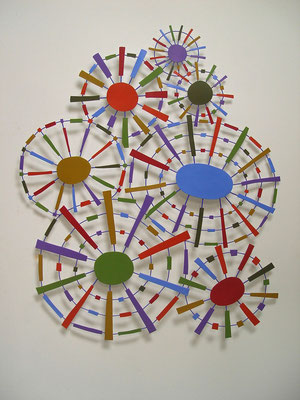 "Starbursts 2013, Acrylic on welded steel, 47 x 39.5 x 1"" (sold)"