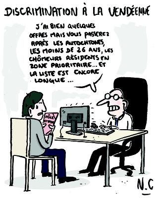 """Illustration d'un article sur la discrimination à l'embauche en Vendée -Publié dans le """"Sans Culotte 85"""" - sept 2020"""