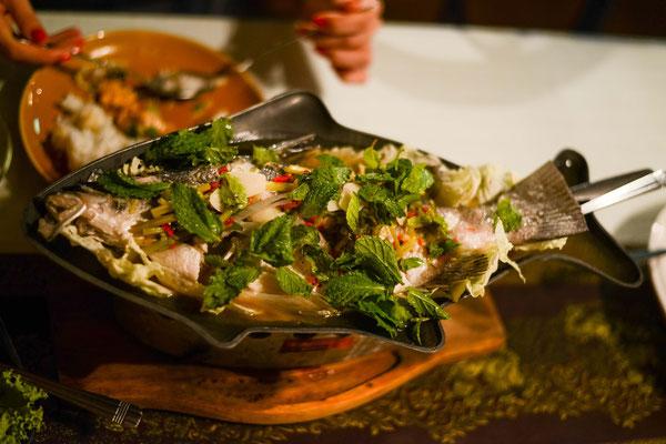 Tom Yum Pra - fish in mint leaves